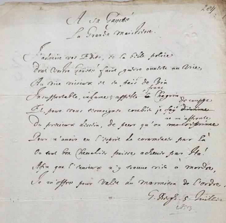 Gedicht van Constantijn Huygens van 5 juli 1653, Koninklijke Bibliotheek