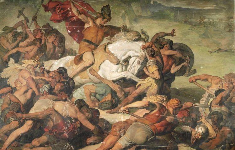 Arminius tijdens de Slag bij het Teutoburgerwoud (Peter Janssen, 1873)
