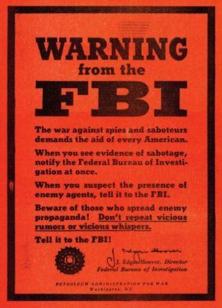 FBI-poster, ondertekend door Hoover