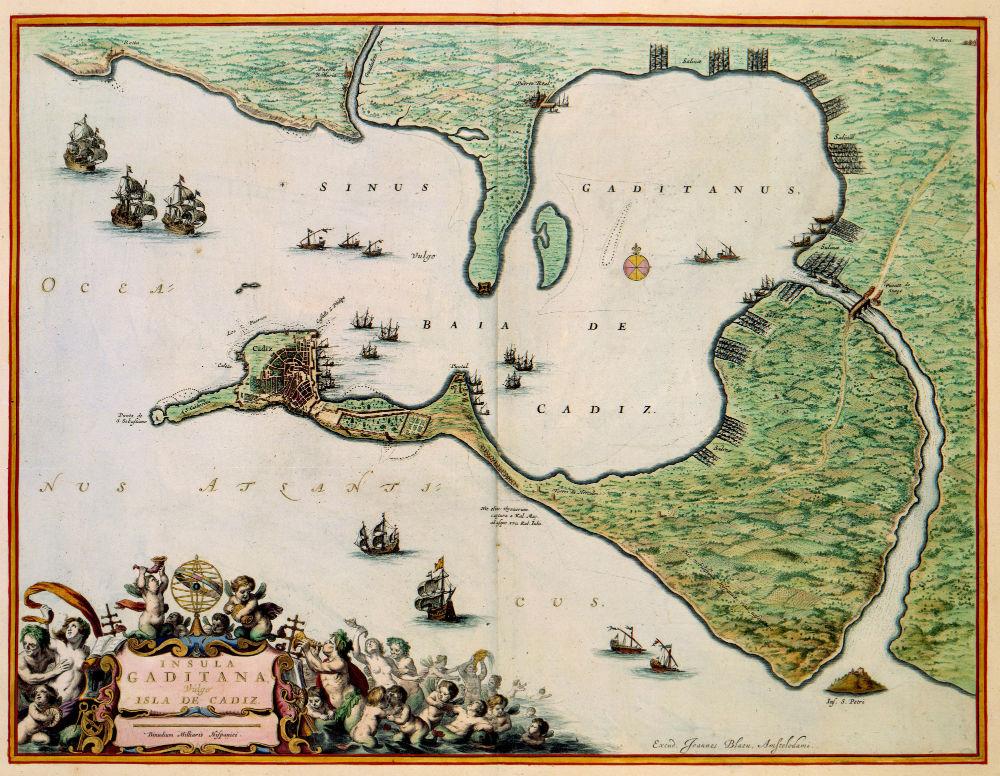 Deze kaart van de Baai van Cadiz werd door Joan Blaeu (1598-1673) opgenomen in zijn Atlas Maior uit 1662