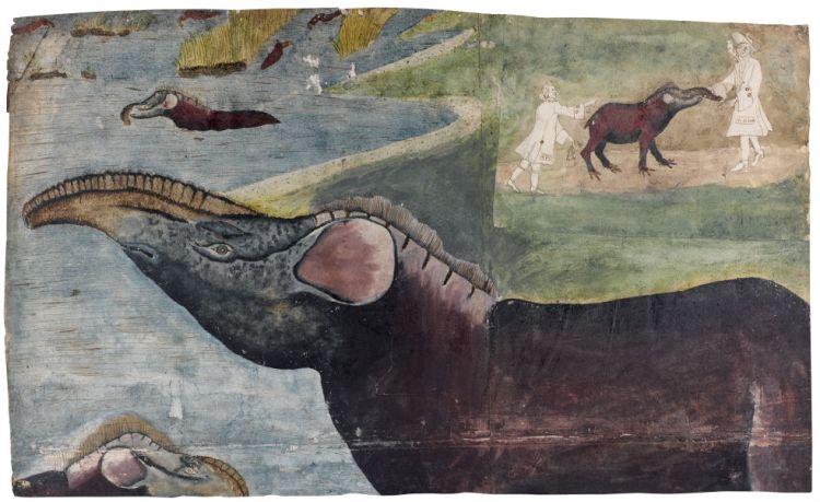 Voorstelling van tapirs in hun natuurlijke omgeving. Rechtsboven: ingezet stukje met twee mannen en een tapir. Gouache, Jan Velten ca. 1700