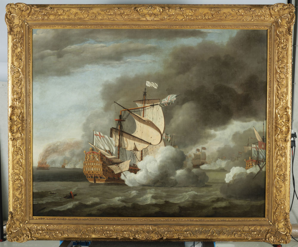 Het wegslepen van de Royal James tijdens de Vierdaagse Zeeslag van de Tweede Engelse Oorlog. Willem Van de Velde. 1670. (Collectie Het Scheepvaartmuseum)