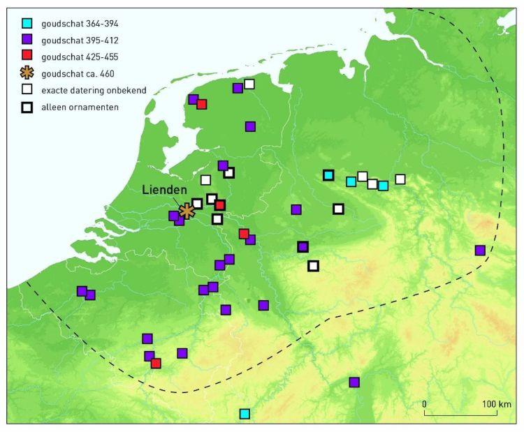 Verspreidingskaart Laat-Romeinse goudschatten in Nederland en omgeving en hun datering. (VU)