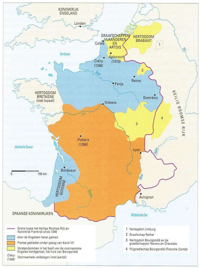 Frankrijk tijdens het tweede deel van de Honderdjarige Oorlog, 1428. Bron: Wim Blockmans en Peter Hoppenbrouwers, Eeuwen des onderscheids. Een geschiedenis van middeleeuws Europa (Amsterdam: Bert Bakker, 2016) 486