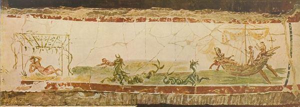 Dezelfde scene als hierboven, nu uit het boek van Wilpert. Dit is een ingekleurde foto. Je kunt zien dat de schilders in Valkenburg ook de barsten hebben gekopieerd.
