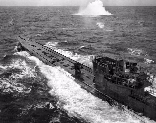 De U-848, een van de onderzeeboten van de Monsun Gruppe
