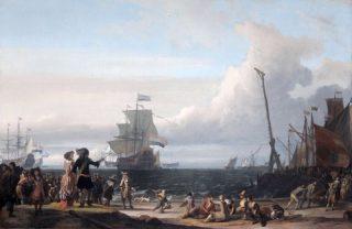 Nederlandse schepen op de rede van Texel. Centraal het vlaggenschip van Cornelis Tromp, de 'Gouden Leeuw'. (Ludolf Bakhuysen, 1671)
