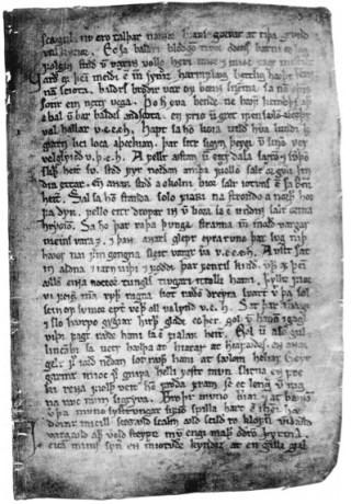 De Codex Regius (rond 1270) met enkele verzen uit Völuspá (Het visioen van de zieneres).