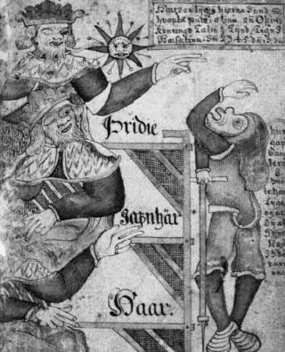 Ontmoeting van koning Gylfi met Hár, Jafnhár en Thridi. Achttiende-eeuws handschrift uit IJsland