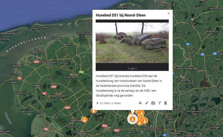 Kaart met Hunebedden in Nederland