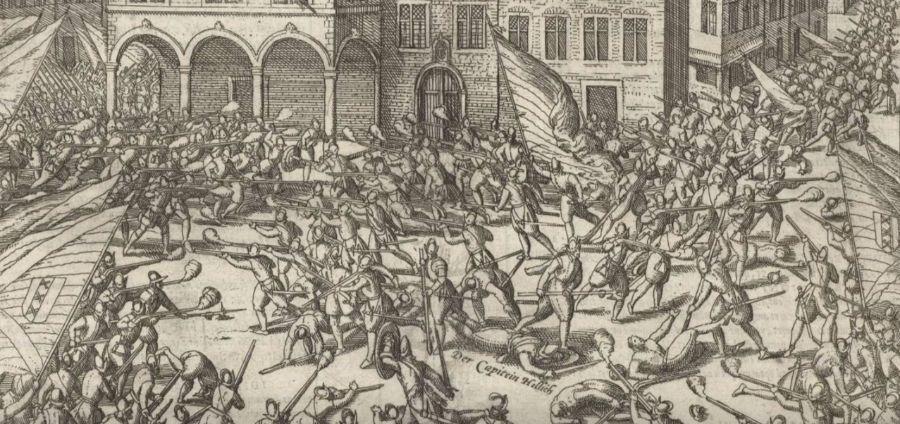 Schermutselingen op de Dam tijdens de Aanslag op Amsterdam van 1577 (Franz Hogenberg - Rijksmuseum)