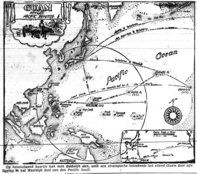 Kaart in de  Indische courant van maart 1941 die de strategische ligging van Guam inzichtelijk moet maken (Delpher)