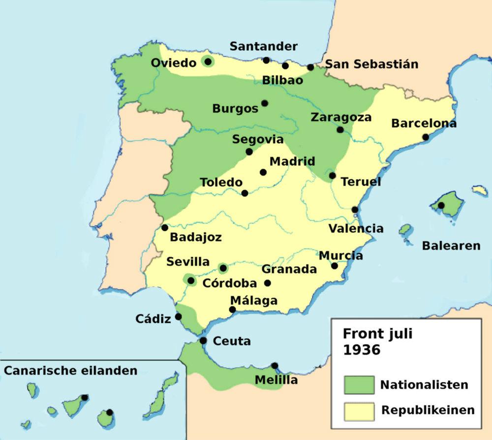 Front van de Spaanse Burgeroorlog, kaart van juli 1936