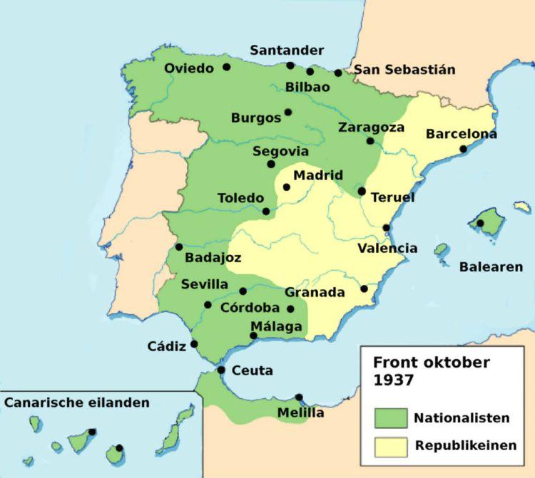 Front van de Spaanse Burgeroorlog, kaart van oktober 1937