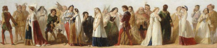 Processie van karakters uit werken van William Shakespeare