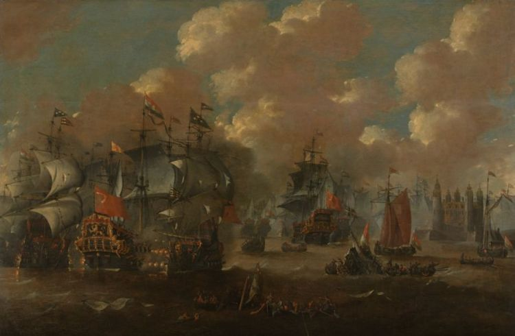Schilderij van de Slag in de Sont door Peter van de Velde (Rijksmuseum)
