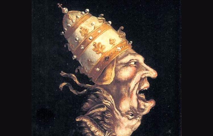 Zestiende-eeuwse protestantse spotprent van de paus (wiki)