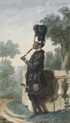Louis Carrogis Carmontelle, Narcisse, 'Moor' van de hertog van Orléans, 1770. De muzikale Narcisse is hier al fluitspelend verbeeld