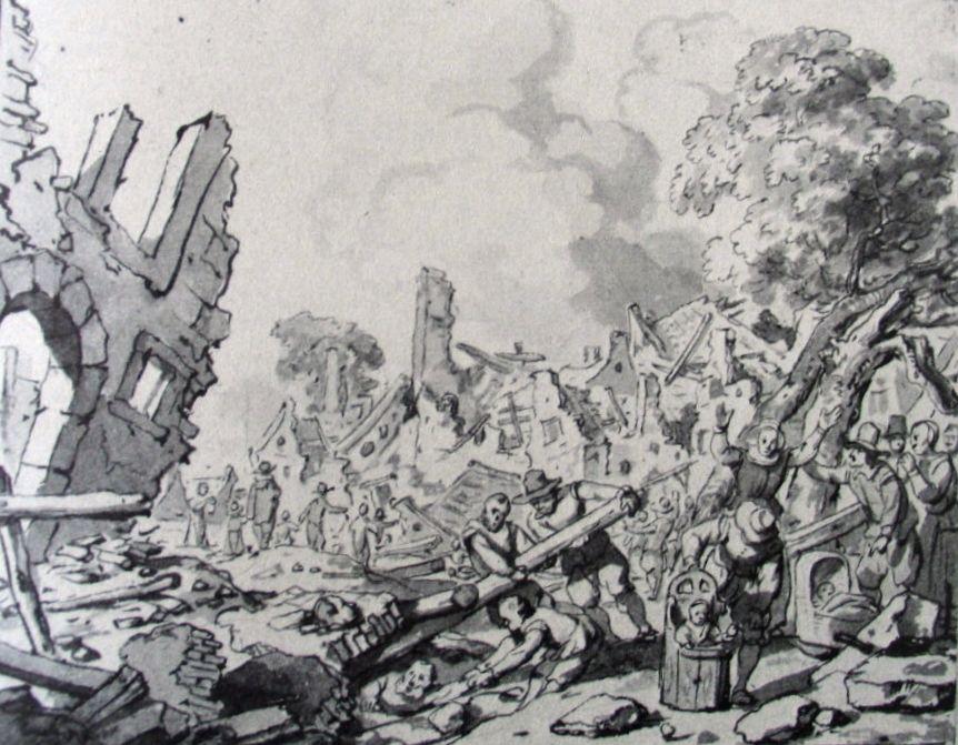 Delft na de explosie, tekening door Gerbrand van den Eeckhout