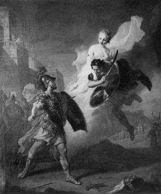 Het gevecht tussen Paris en Menelaus - Johann Heinrich Tischbein de Oudere