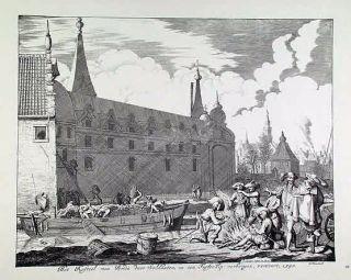 Het lossen van het schip aan de noordzijde van het kasteel (prent van Jan Luyken)