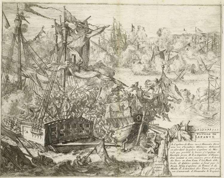 Slag bij Lepanto, 1571, Romeyn de Hooghe (toegeschreven aan), naar Don Juan de Ledesma, 1670 - 1699