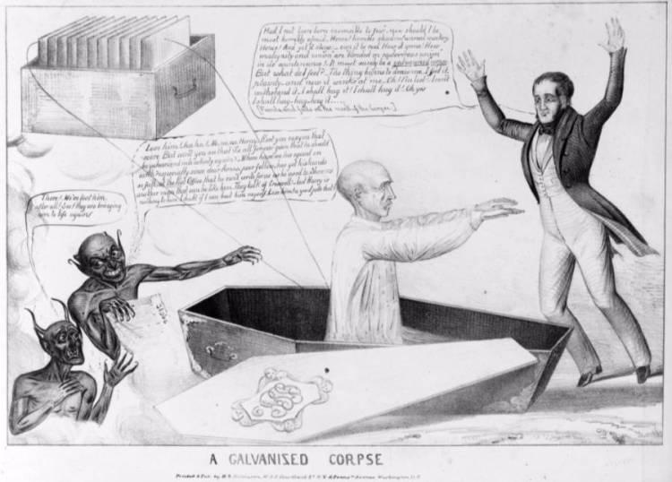 Karikatuur over de galvanisatie van een overledene (wiki)