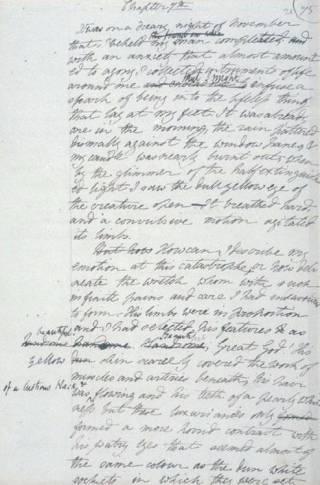 Manuscript van Frankenstein
