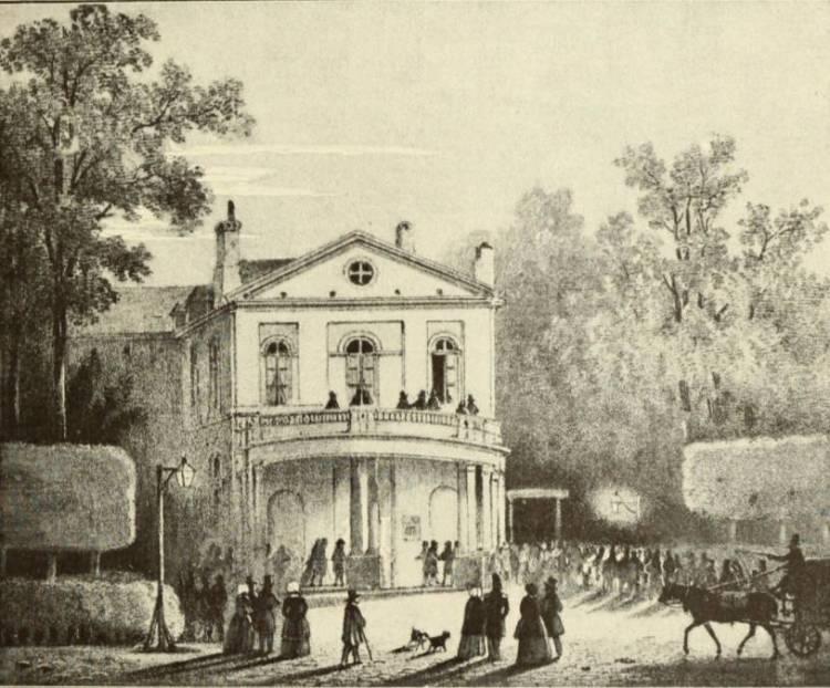 Oude tekening van het Koninlijk Parktheater in Brussel - wiki