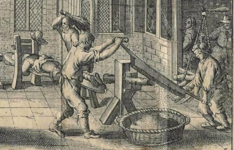 Pompen of verzuipen - Het Rasphuis in 1662. Uit: Melchior Fokkens, 'Beschrijvinge der wijdt-vermaarde Koop-stadt Amstelredam'