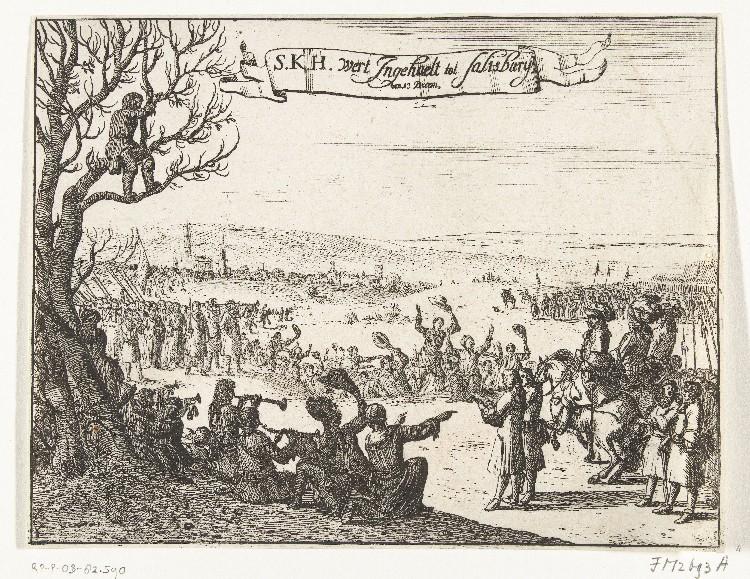 'Intocht van Willem III in Salisbury 1688' (anoniem) Bron: Rijksmuseum Amsterdam