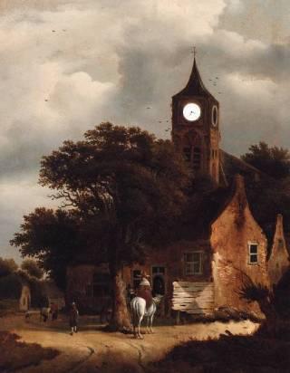 Reizigers bij een herberg aan de rand van een dorp, een kerk voorbij, Roelof Jansz. van Vries