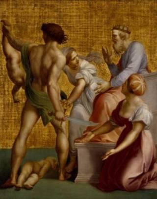 Salomonsoordeel, door Giuseppe Cades. De vrouw in het wit verhindert dat de soldaat haar kind in tweeën hakt.