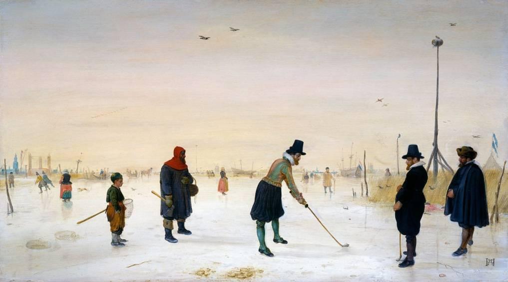 Kolfspelers op het ijs. ca. 1625 - Hendrick Avercamp (Houston Museum of Fine Arts, Collectie Edward and Sally Speelman)