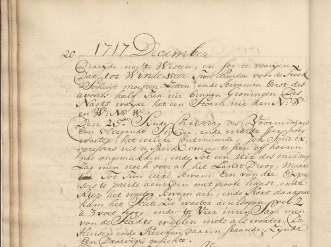 Kopie van het originele verslag van Van Seeratt over de 'vliegende storm' met eerst opmerkelijk laag water en daarna de Kerstvloed.