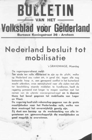 'Nederland besluit tot mobilisatie' (Bron: beeldbank WO2, Collectie NIOD, beeldnr: 63200)