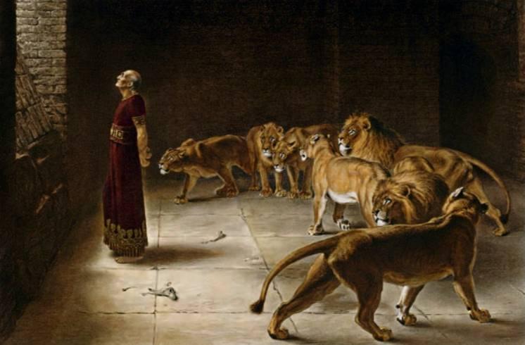 Daniël in de leeuwenkuil. Schilderij door Briton Rivière, 1890