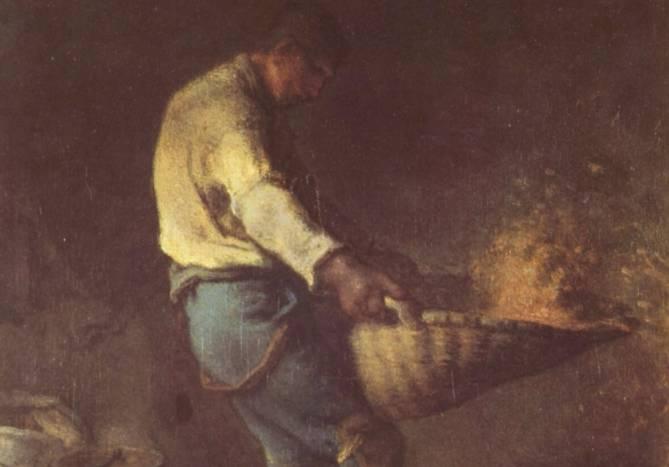 Een boer scheidt het kaf van het koren (Jean-François Millet, ca. 1846)