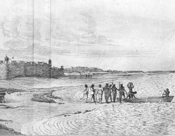 """Frans Post. Fort Ceulen in Rio Grande, gravure. Het Portugese """"Driekoningenfort"""" (Forte dos Reis Magos) - UB Leiden, 20069-A-2"""