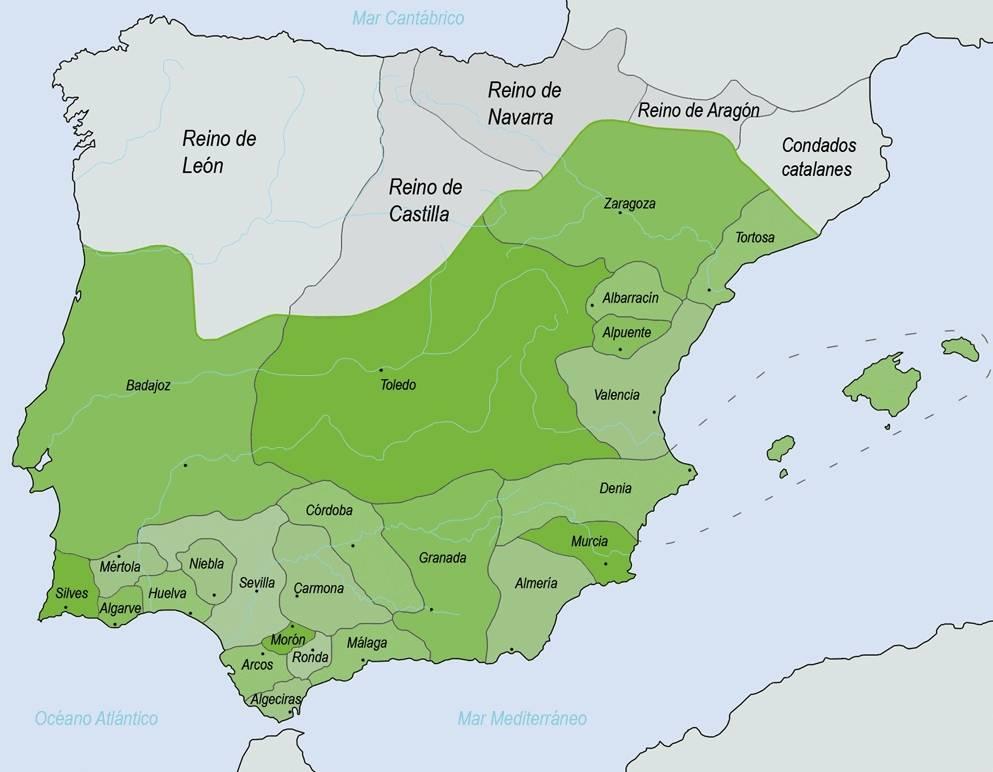 Ligging van de verschillende taifa's (wiki)