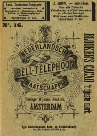 Voorkant van de telefoongids van de Nederlandsche Bell Telephoon Maatschappij (NBTM) uit 1891