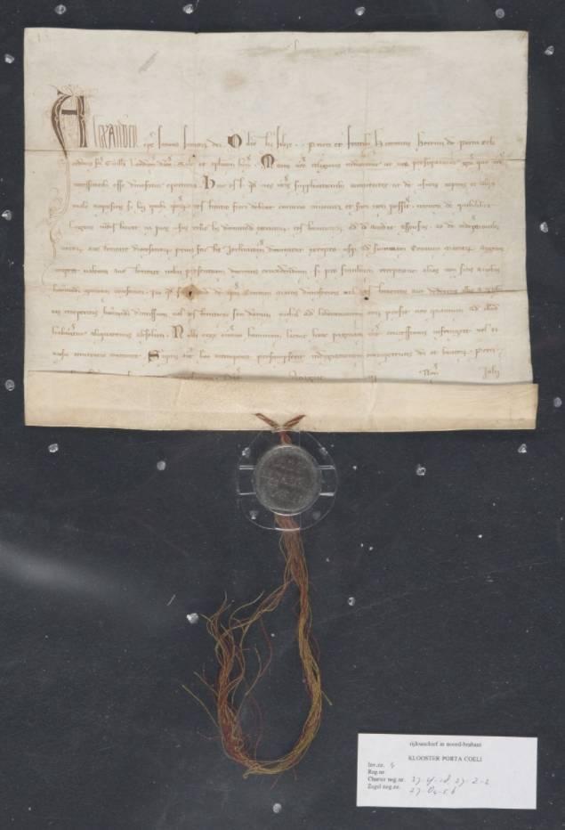Paus Alexander IV geeft in 1260 toestemming aan de kluizenaars van het  klooster Porta Coeli van de orde van Sint-Wilhelmus om giften aan te nemen die afkomstig zijn van woekerwinsten, roof en andere misdaden. De benadeelden moeten echter niet meer te vinden zijn. Ook mochten ze gelden aannemen waarmee geloften afgekocht konden worden, tenzij ze ten goede zouden komen van Jeruzalem. Alles tot ten hoogste 100 mark zilver. (collectie BHIC)