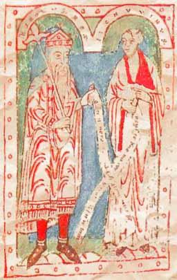 Karel de Grote (links) en Alcuinus (12e-eeuwse illuminatie)