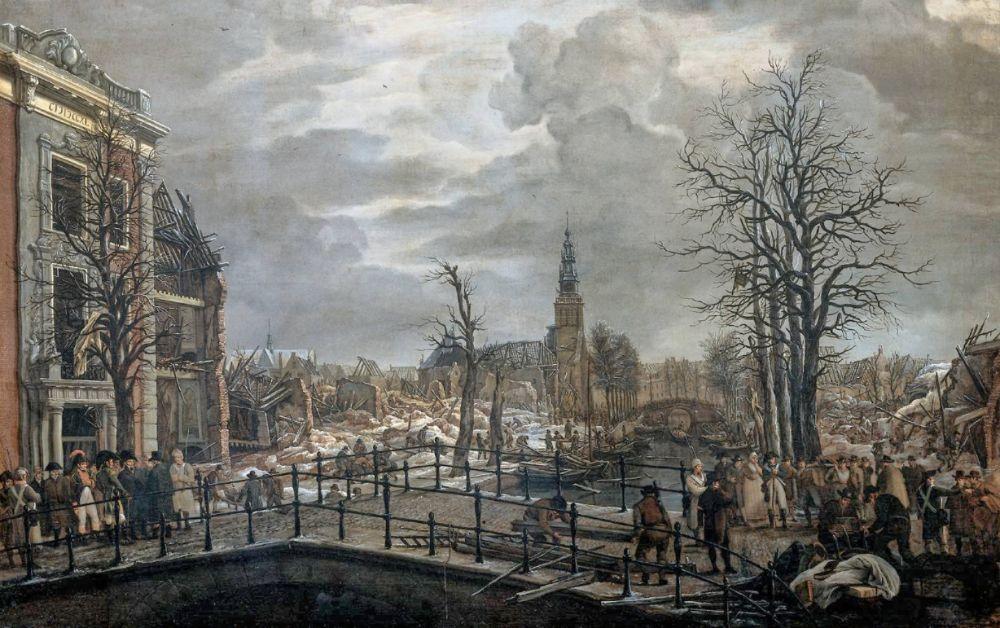 Lodewijk Napoleon bezoekt de slachtoffers van de kruitramp in Leiden, 1807, Carel Lodewijk Hansen