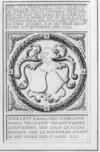 Tekening van de grafsteen van het graf van Isaac le Maire en zijn echtgenote