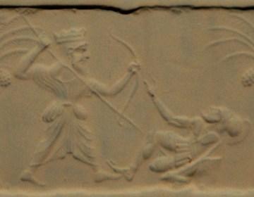 Zegelafdruk: een Perzische koning verslaat een Griekse hopliet (Metropolitan Museum of Art, New York)