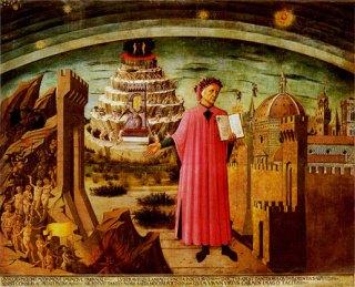 Dante met de Divina Commedia in de hand, tempera op doek (1465), Domenico di Michelino, Santa Maria del Fiore, Florence