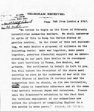 Vertaalde versie van het telegram (National Archives)
