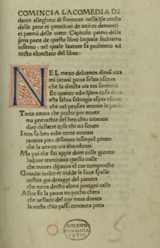 Incipit van de eerste druk van 'De goddelijke komedie' in 1472 door Johann Neumeister, gedrukt in Foligno. - wiki
