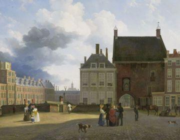 De Gevangenpoort en Plaats te Den Haag. Schilderij: Pieter Daniel van der Burgh, 1825 – 1860. Naast de Gevangenpoort bevond zich de galerij met de schilderijencollectie. Rijksmuseum, Amsterdam.